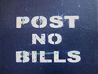 """please post – no bills"" 
